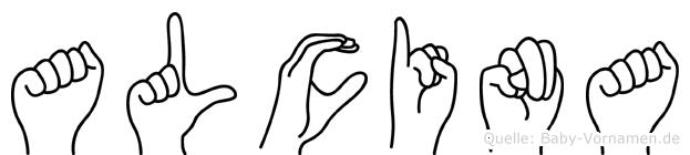 Alcina im Fingeralphabet der Deutschen Gebärdensprache