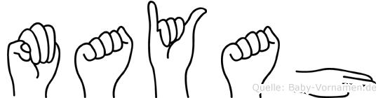 Mayah im Fingeralphabet der Deutschen Gebärdensprache