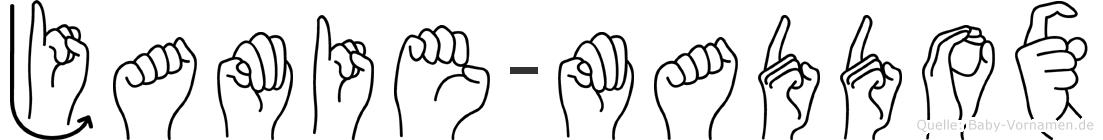 Jamie-Maddox im Fingeralphabet der Deutschen Gebärdensprache