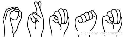 Orman im Fingeralphabet der Deutschen Gebärdensprache