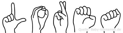 Lorea im Fingeralphabet der Deutschen Gebärdensprache
