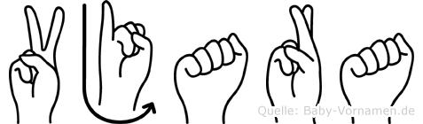 Vjara im Fingeralphabet der Deutschen Gebärdensprache