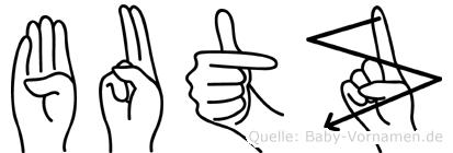 Butz im Fingeralphabet der Deutschen Gebärdensprache