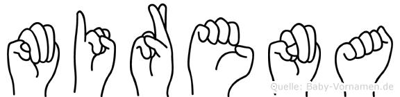 Mirena im Fingeralphabet der Deutschen Gebärdensprache