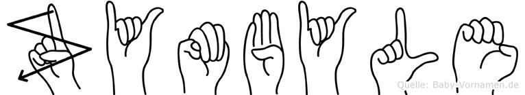 Zymbyle im Fingeralphabet der Deutschen Gebärdensprache