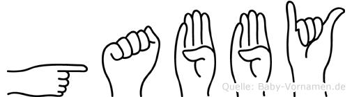 Gabby im Fingeralphabet der Deutschen Gebärdensprache