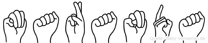 Maranda im Fingeralphabet der Deutschen Gebärdensprache