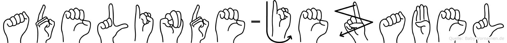 Adelinde-Jezabel im Fingeralphabet der Deutschen Gebärdensprache
