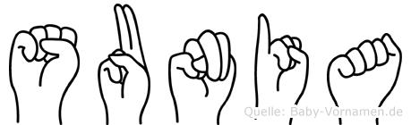 Sunia in Fingersprache für Gehörlose