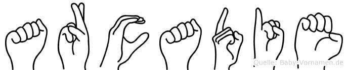 Arcadie im Fingeralphabet der Deutschen Gebärdensprache