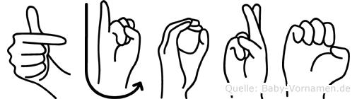 Tjore im Fingeralphabet der Deutschen Gebärdensprache