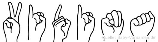 Vidina im Fingeralphabet der Deutschen Gebärdensprache