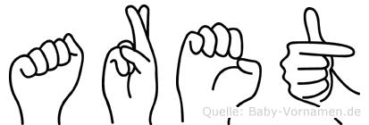Aret im Fingeralphabet der Deutschen Gebärdensprache