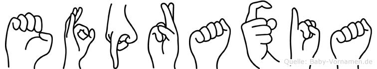Efpraxia im Fingeralphabet der Deutschen Gebärdensprache