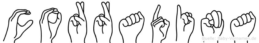 Corradina im Fingeralphabet der Deutschen Gebärdensprache