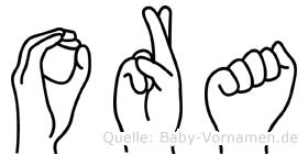 Ora im Fingeralphabet der Deutschen Gebärdensprache