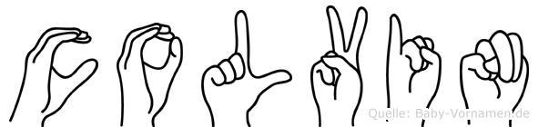 Colvin im Fingeralphabet der Deutschen Gebärdensprache