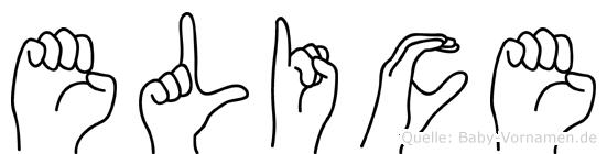 Elice im Fingeralphabet der Deutschen Gebärdensprache