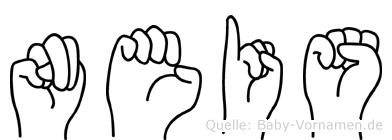 Neis im Fingeralphabet der Deutschen Gebärdensprache