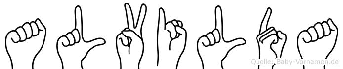 Alvilda im Fingeralphabet der Deutschen Gebärdensprache