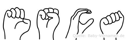 Esca in Fingersprache für Gehörlose