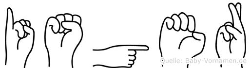 Isger im Fingeralphabet der Deutschen Gebärdensprache