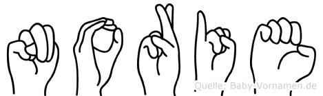 Norie im Fingeralphabet der Deutschen Gebärdensprache