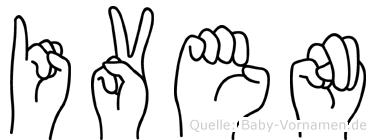 Iven im Fingeralphabet der Deutschen Gebärdensprache
