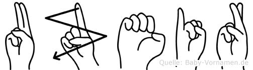 Uzeir im Fingeralphabet der Deutschen Gebärdensprache