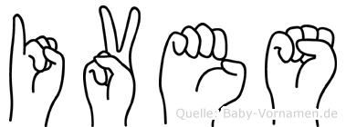 Ives im Fingeralphabet der Deutschen Gebärdensprache