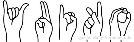 Yuiko im Fingeralphabet der Deutschen Gebärdensprache