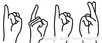 Idir im Fingeralphabet der Deutschen Gebärdensprache