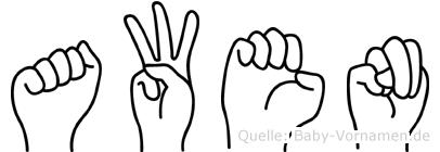 Awen in Fingersprache für Gehörlose