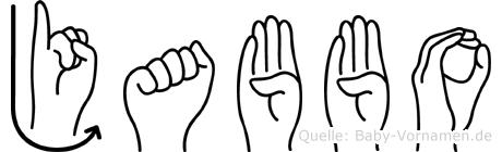 Jabbo im Fingeralphabet der Deutschen Gebärdensprache