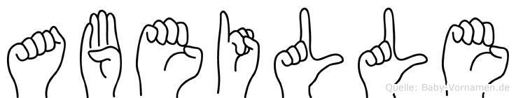 Abeille im Fingeralphabet der Deutschen Gebärdensprache