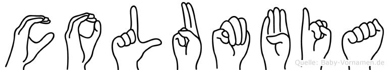 Columbia im Fingeralphabet der Deutschen Gebärdensprache