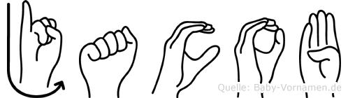 Jacob im Fingeralphabet der Deutschen Gebärdensprache