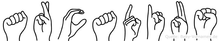 Arcadius im Fingeralphabet der Deutschen Gebärdensprache