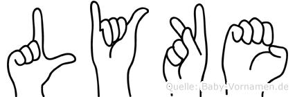Lyke im Fingeralphabet der Deutschen Gebärdensprache