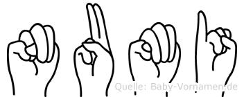 Numi in Fingersprache für Gehörlose