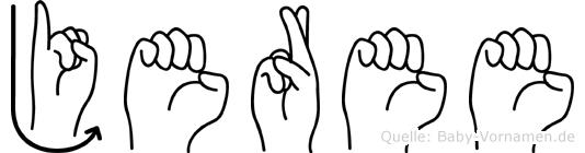 Jeree im Fingeralphabet der Deutschen Gebärdensprache