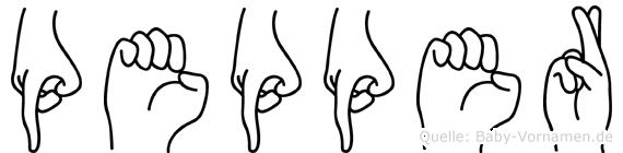 Pepper im Fingeralphabet der Deutschen Gebärdensprache
