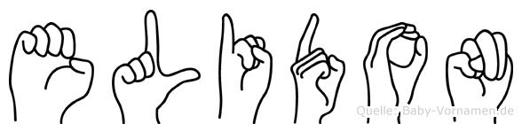 Elidon im Fingeralphabet der Deutschen Gebärdensprache