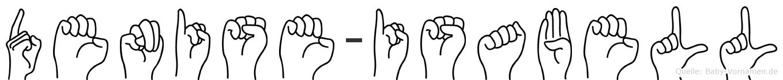 Denise-Isabell im Fingeralphabet der Deutschen Gebärdensprache