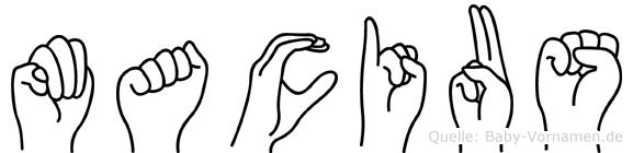 Macius im Fingeralphabet der Deutschen Gebärdensprache