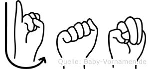 Jan im Fingeralphabet der Deutschen Gebärdensprache