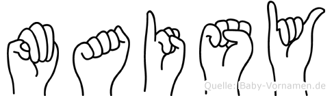 Maisy im Fingeralphabet der Deutschen Gebärdensprache