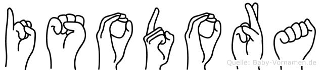 Isodora im Fingeralphabet der Deutschen Gebärdensprache