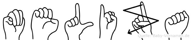 Meliza im Fingeralphabet der Deutschen Gebärdensprache