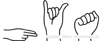 Hya in Fingersprache für Gehörlose